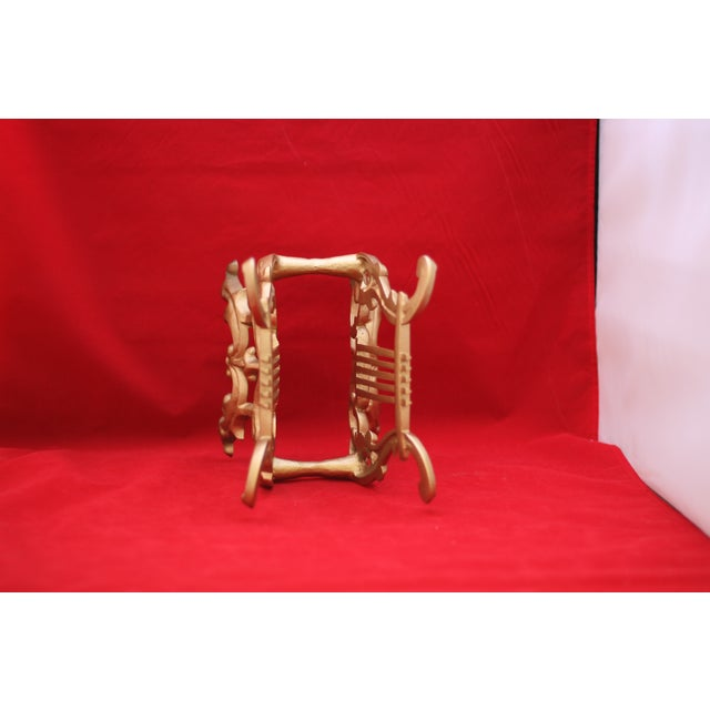 Image of Vintage Gold Cast Metal Footed Lyre Stand