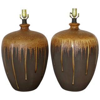 Mid-Century Ceramic Drip Glaze Table Lamps - Pair