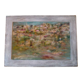 1964 Vintage Abstract Cityscape Painting