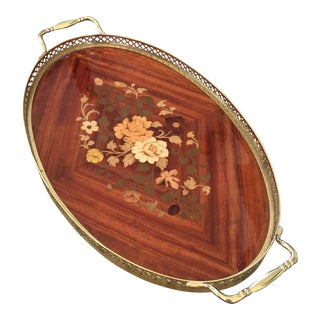 Italian Marquetry Inlaid Wood & Brass Tray