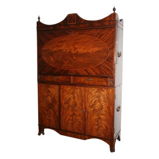 Antique Inlaid Mahogany Drop Front Secretary