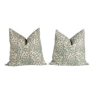 Pewter Gray Linen Leopard Pillows - A Pair