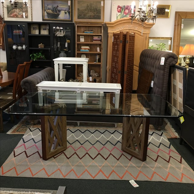 Image of Marge Carson Glass & Wood Dining Table