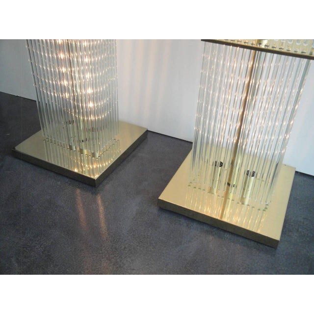 Image of Pair of Sciolari Brass and Glass Floor Lamps for Lightolier