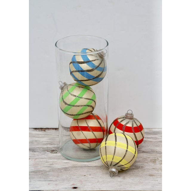 Striped West German Christmas Ornaments - Set of 5 - Image 8 of 11