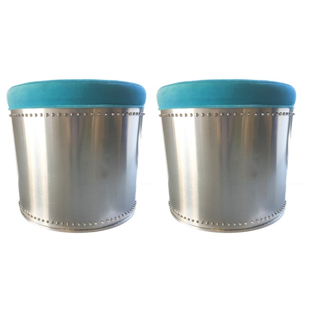 Rivet Stools with Turquoise Velvet Tops - A Pair - Image 4 of 4