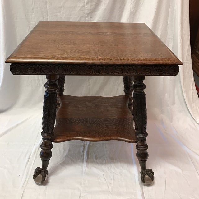 Antique Claw Foot Oak Table - Image 2 of 5