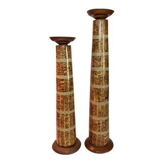 Handcrafted Wood, Sand & Metal Pillar Candle Holders - A Pair
