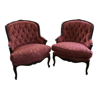 Century Furniture Coral Color Tufted French Chairs - a Pair