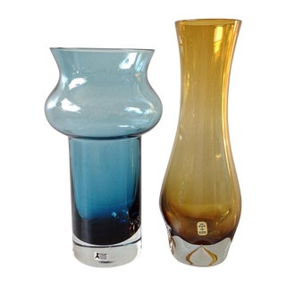 Scandinavian Blue And Amber Glass Vases - Pair