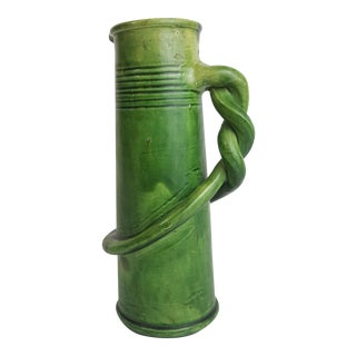 Green Belgian Pottery Pitcher With Twisted Handle