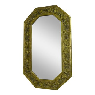 Antique Repousse Brass Beveled Wall Mirror