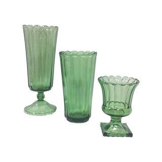 Mid-Century Olive Green Glass Vases - Set of 3