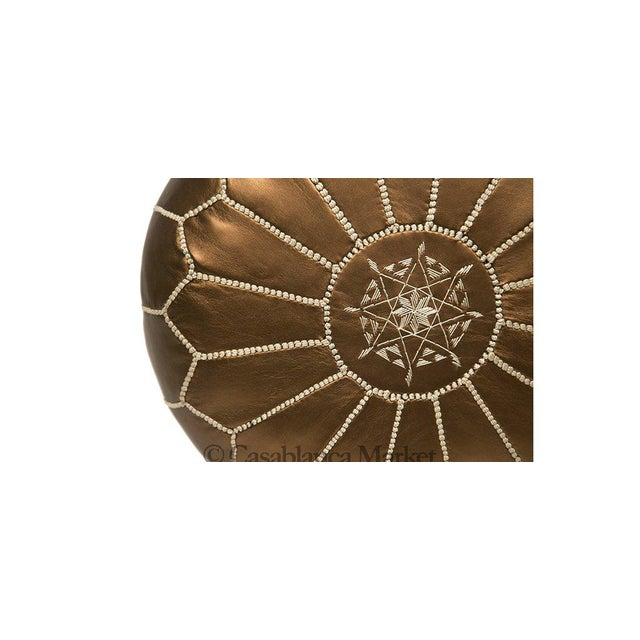 Embroidered Faux Metallic Leather Pouf, Bronze - Image 2 of 5