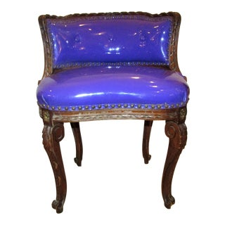 Purple Vinyl Upholstered Antique Vanity Chair