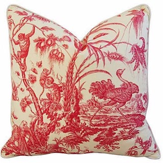 French Marius Boudin Toile & Linen Pillow