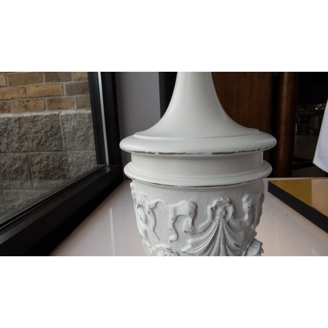 Ornate Cream French Table Lamp W/White Linen Shade - Image 5 of 6