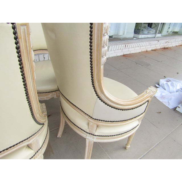 Cream White Carved Wood Dining Chairs - Set of 6 - Image 5 of 7