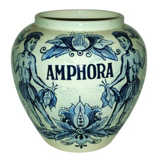 "Blue Delft ""Amphora"" Hand Painted Porcelain Jar"