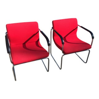 Upholstered Chrome Side Chairs- A Pair