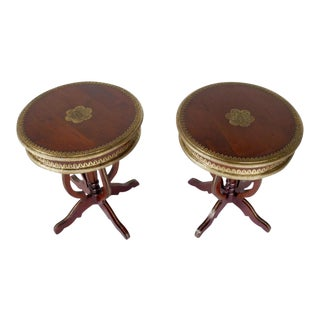Asian Brass Inlaid Pedestal Tables - A Pair