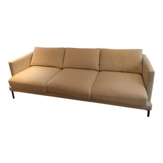 White Velvet Sofa With Cast Iron Legs