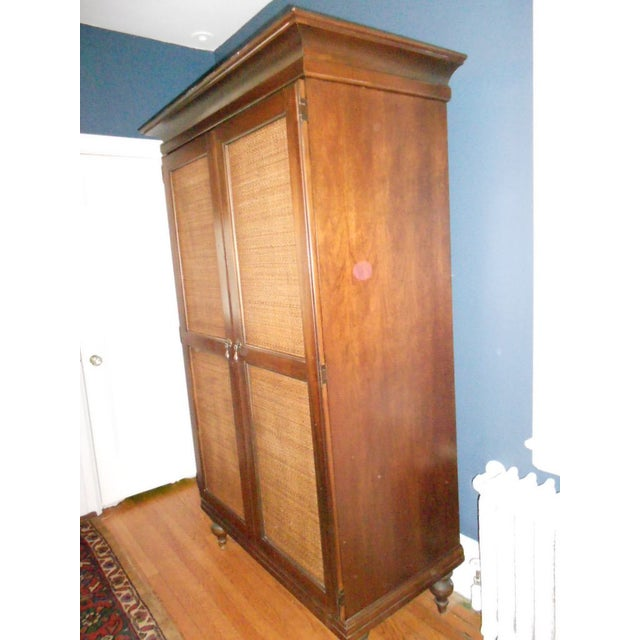 Wooden Armoire With Cane Panels - Image 5 of 5