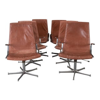 Walter Knoll Chrome & Cognac Leather Chairs - Set of 6