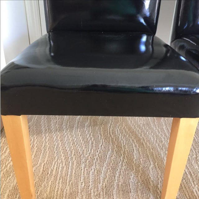 Patent Leather High Back Chairs - A Pair - Image 4 of 8