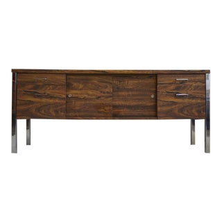 Mid Century Modern Faux Wood/Chrome Credenza