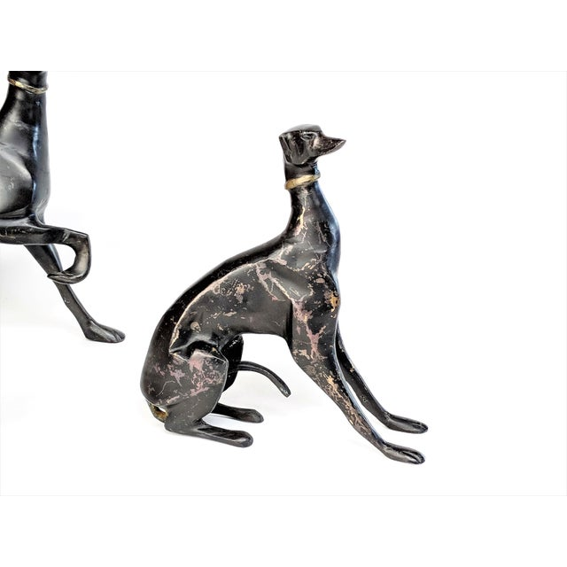 Bronze Greyhound Dog Statues - Set of 3 - Image 5 of 11