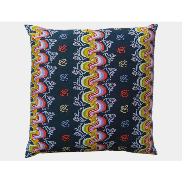 Image of Burmese Black and Orange Silk Pillow