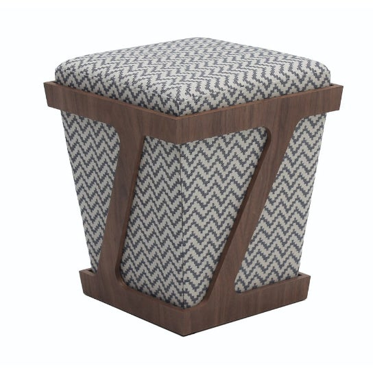 Walnut & Gray Chevron Z-Frame Stool - Image 1 of 2