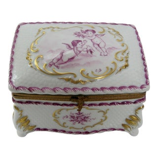 French Limoges Hand Painted Cherubs Large Jewelry Box