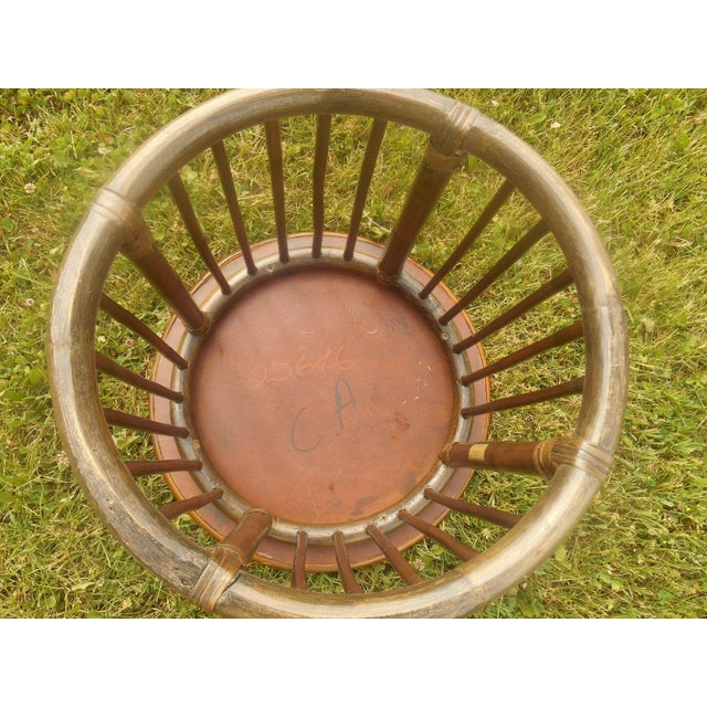 Mid-Century Calif-Asia Round Rattan End Table - Image 3 of 4