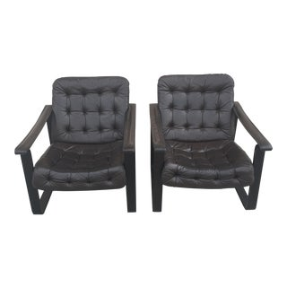 Oy Bj Dahlqvist Ab for Bd Furniture Tufted Leather Sling Chairs- A Pair
