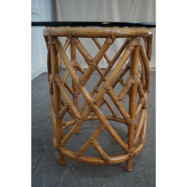 Round Glass Top Rattan Base Dining Table Chairish