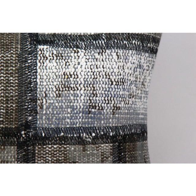 Turkish Handmade Gray Kilim Pillow - Image 3 of 5