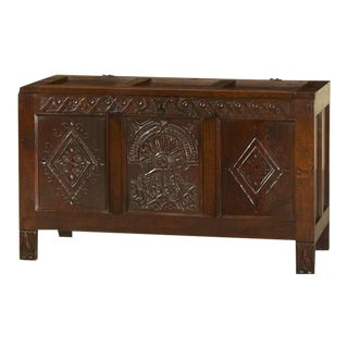 Antique English Oak Trunk Coffer circa 1850