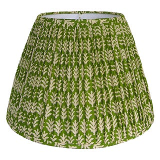 Medium Green Cotton Print Gathered Lamp Shade