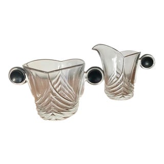 Heisey Art Deco Glass Creamer & Sugar Bowl - A Pair