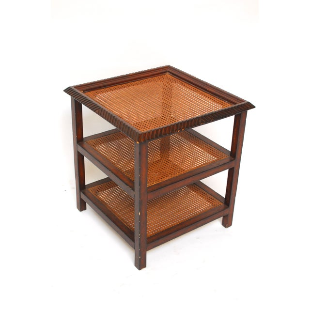 Three Tiered Caned Walnut Side Table - Image 2 of 6