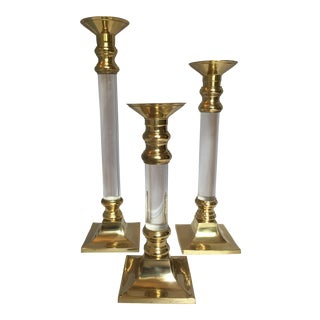 Lucite & Brass Candleholders - Set of 3