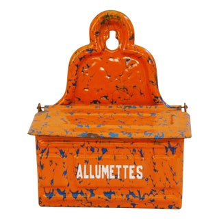 1940s French Enamel Allumettes Holder