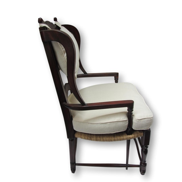 Large Ladder Back Wing Chairs - Pair - Image 3 of 7