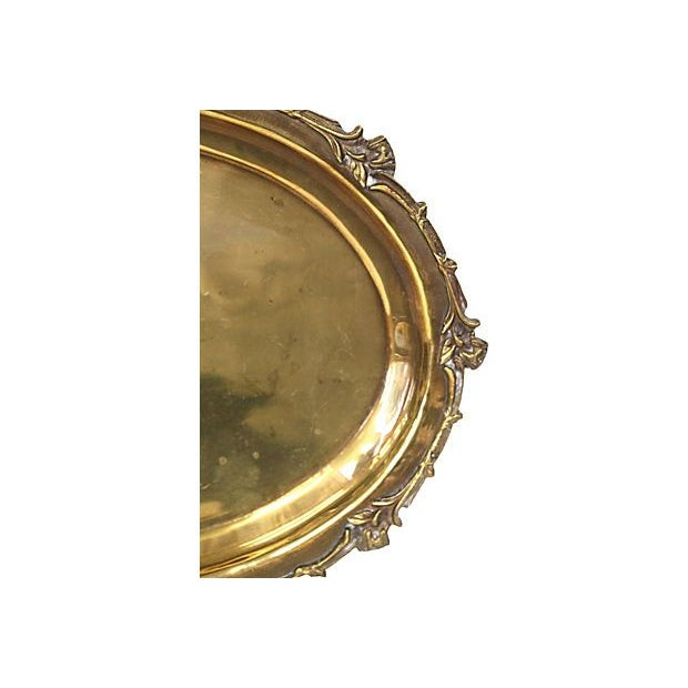Brass Tray with Floral Rim - Image 4 of 5