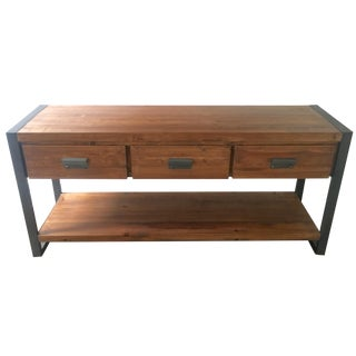 Rustic Industrial Wood & Iron Console