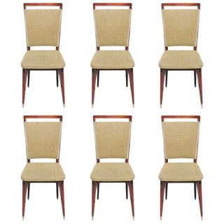 Vintage French Art Deco Rosewood Dining Chairs - Set of 6