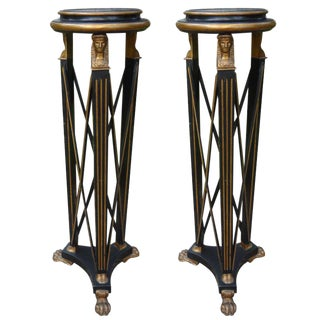 Italian Neoclassical Style Black and Gold Pedestals, Circa 1940 - A Pair