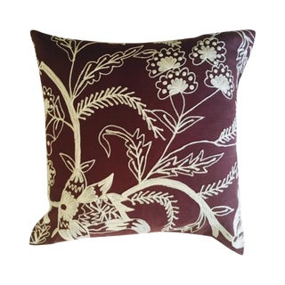Crewl Embroidered Floral Brown Pillow